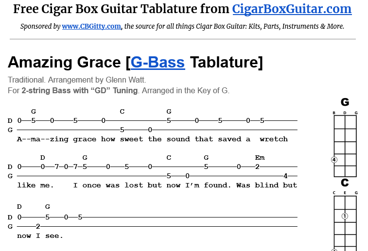 Amazing Grace 2-string G-Bass tablature