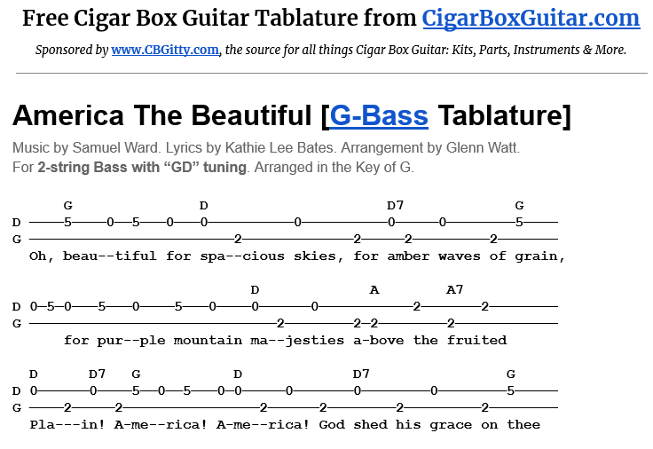 America the Beautiful 2-string G-Bass tablature