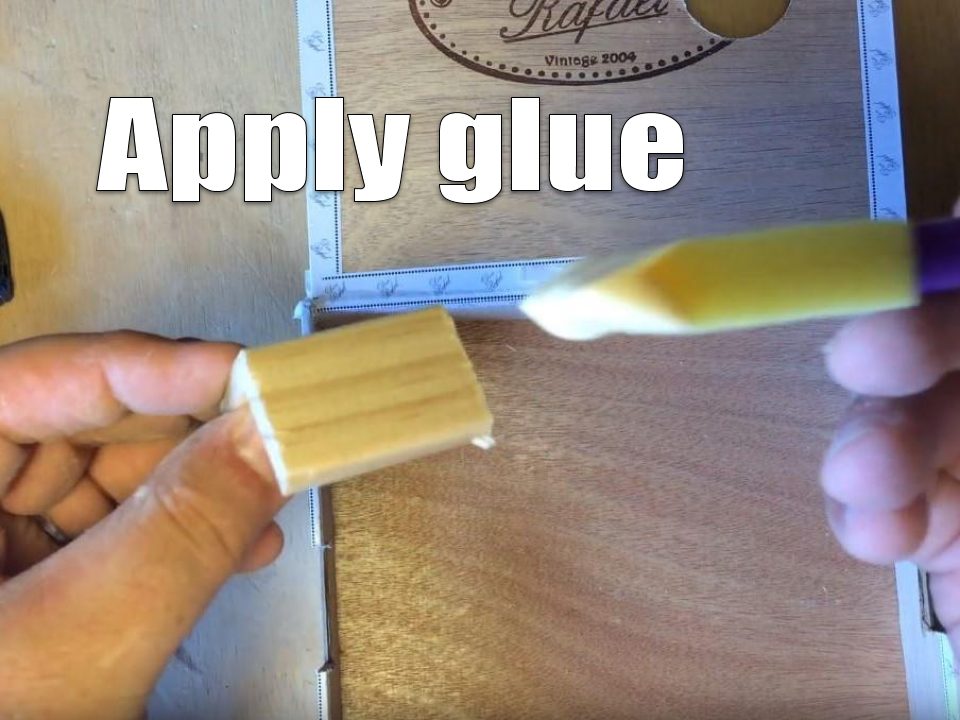Applying glue to corner molding