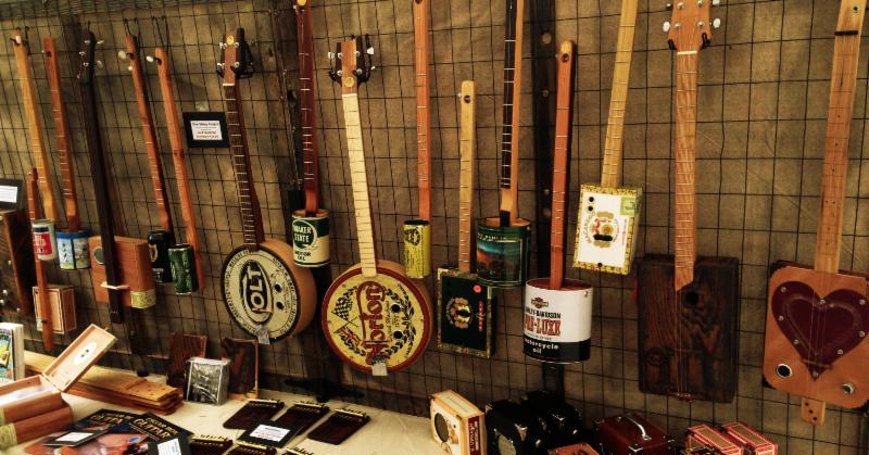 Handmade musical instruments for sale at a festival