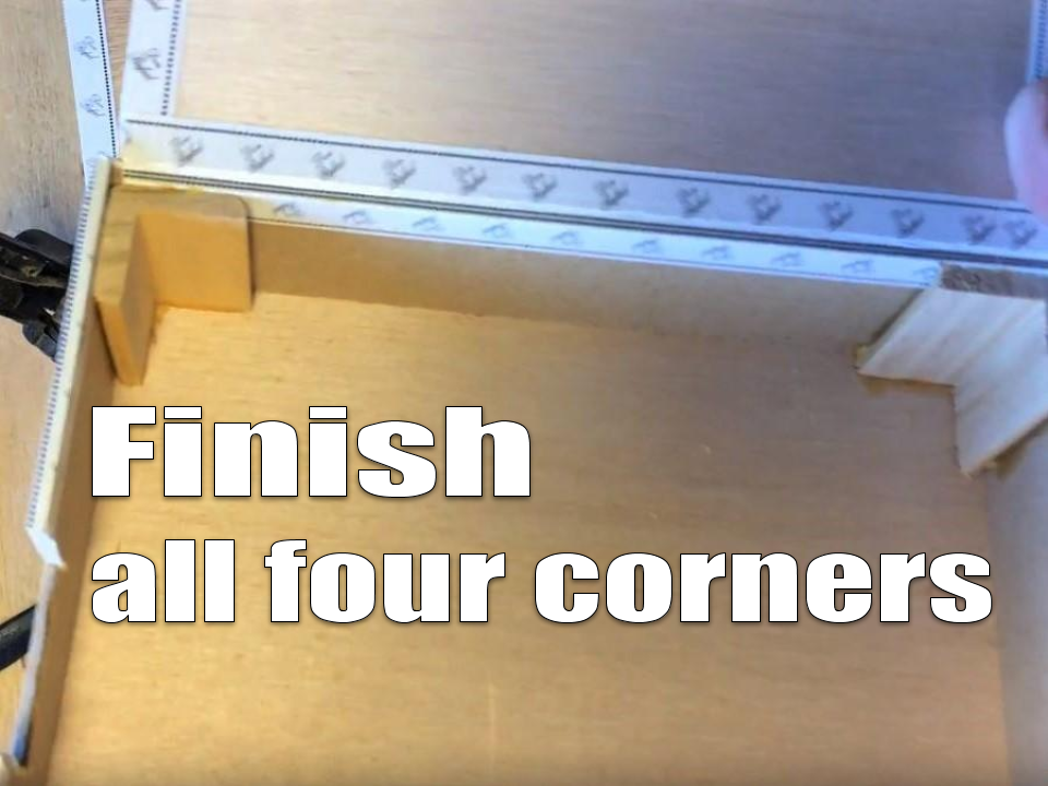 Corner molding glued inside multiple box corners