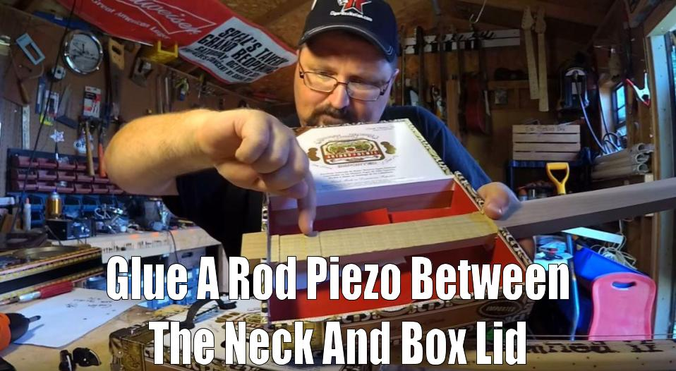 Shane Speal shows how where to install a rod piezo in a neck-through cigar box guitar