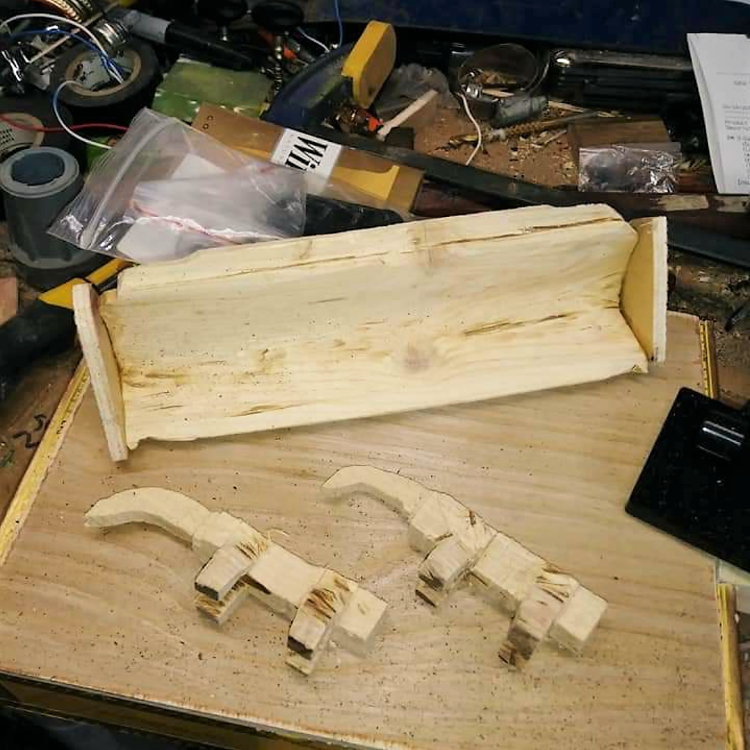 Hand-carved parts for MagicDaddy's bulldozer CBG
