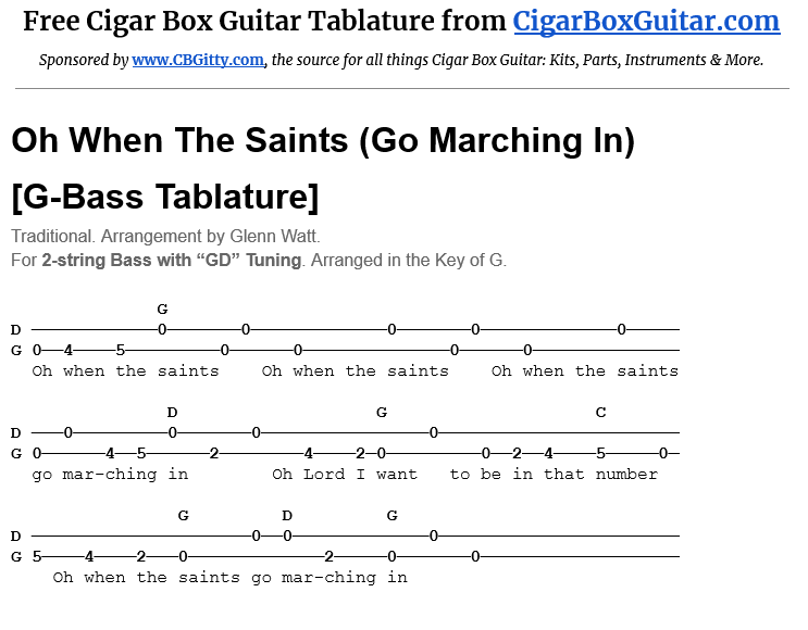 Oh When the Saints (Go Marching In) 2-string G-Bass Tablature