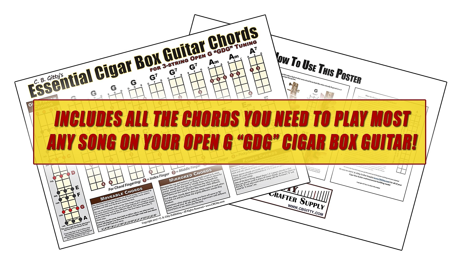 3 String Cigar Box Guitar Chord Forms Made Easy The Ultimate Guide How To Read Chart Diagram Open G Gdg Essential Chords Poster
