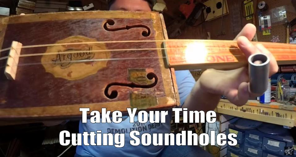 Shane Speal recommends that you take your time cutting sound holes in antique cigar boxes