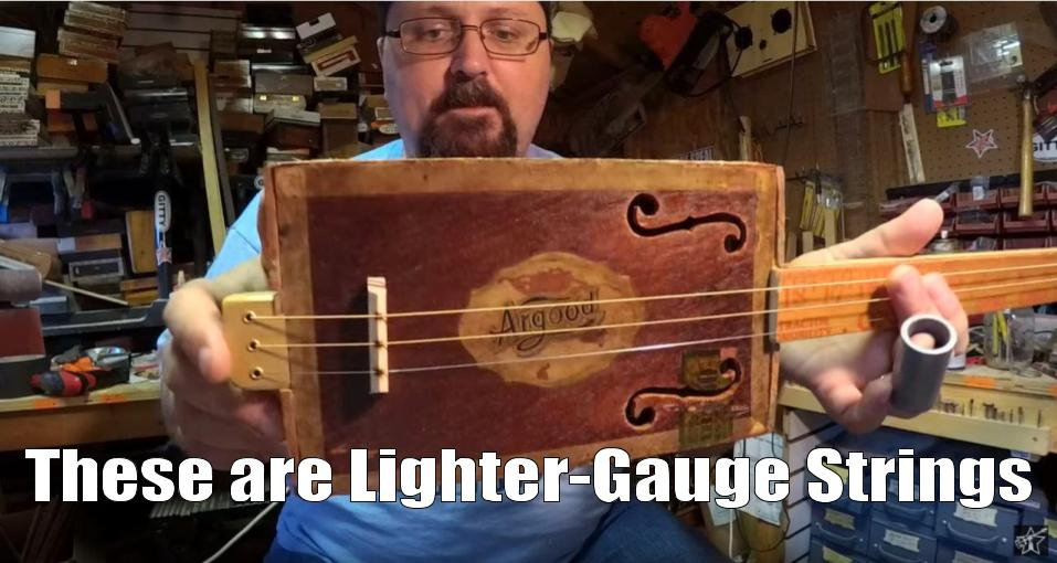 Shane Speal uses light-gauge strings on CBGs built with antique cigar boxes