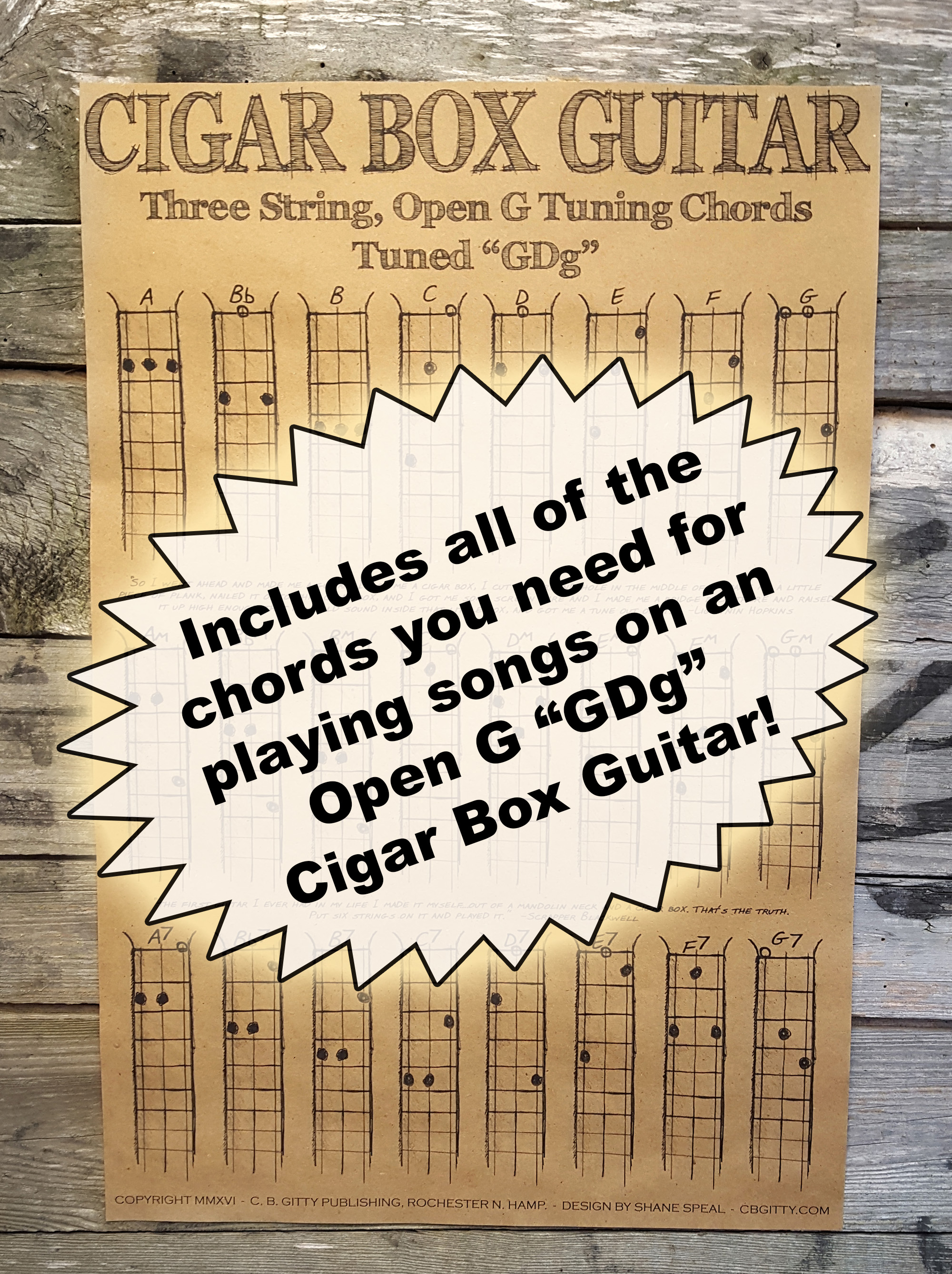 Three String Open G Chord Poster For Cigar Box Guitar More C B